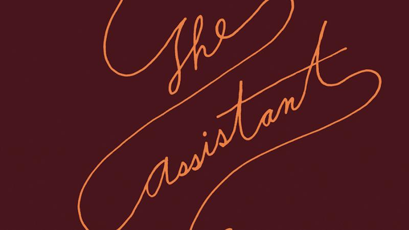 "Burgundy book over of ""The Assistant,"" with an orange rose connected in a single line to the title"