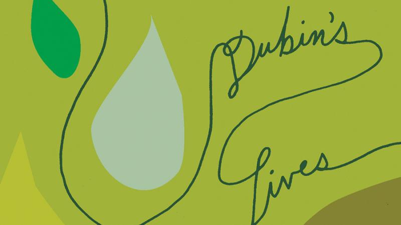 "Green cover of ""Dubin's Lives"" which has tear drop shaped green leaves on a vine, which shapes the words of the title"