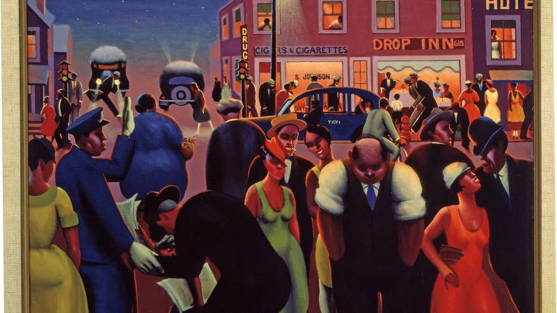 Painting of an outdoor scene with many people enjoying city nightlife.