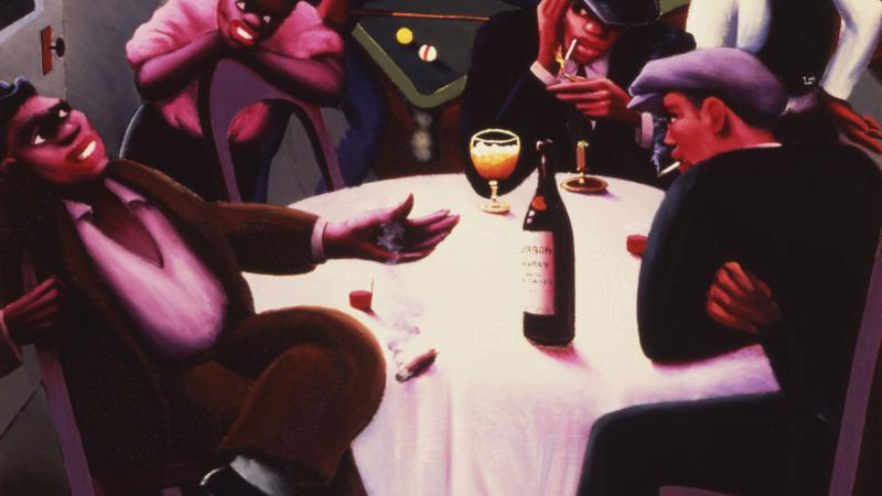 Colorful painting of a nightlife scene with African Americans drinking wine and playing the piano.