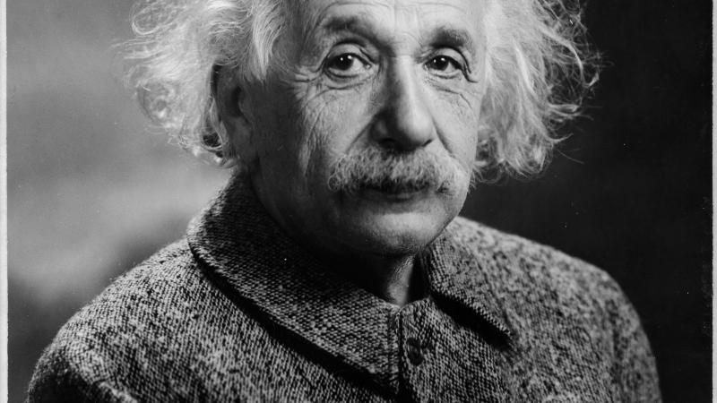 A black and white close-up of Albert Einstein.