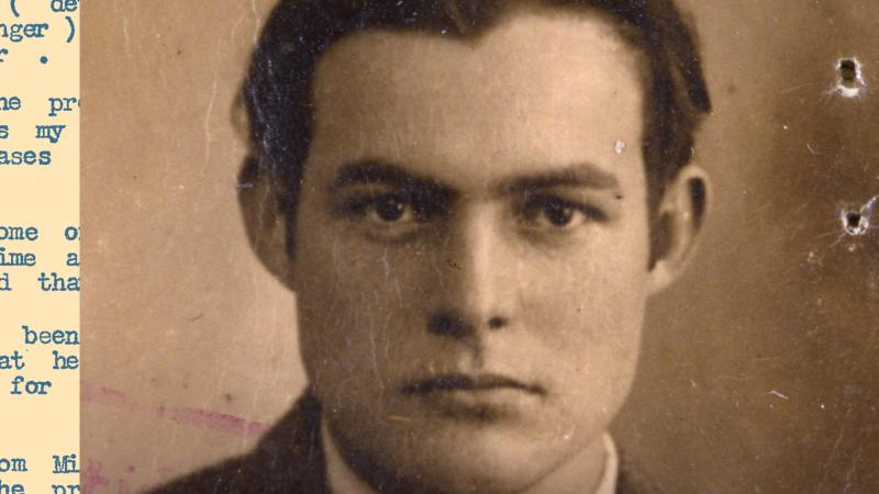 "cover of ""The Letters of Ernest Hemingway"": a photo of the writer as a young man, hair slicked back"
