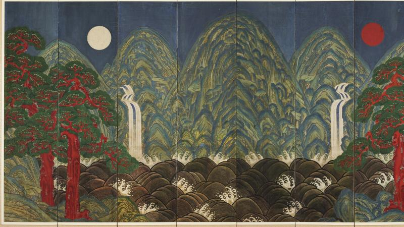 Screen painted with mountains, trees, the moon, and a flowing waterfall