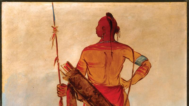 Osage male warrior, with his back to the viewer, holding a spear, wearing traditional native american clothing