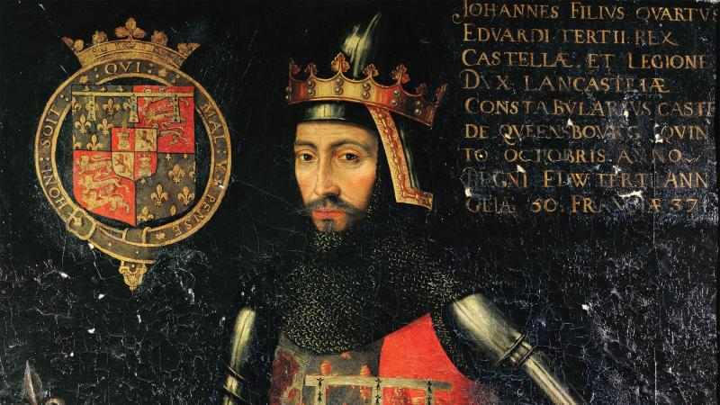 Color painting of John of Gaunt before a black background and a coat of arms located in the upper left-hand corner.