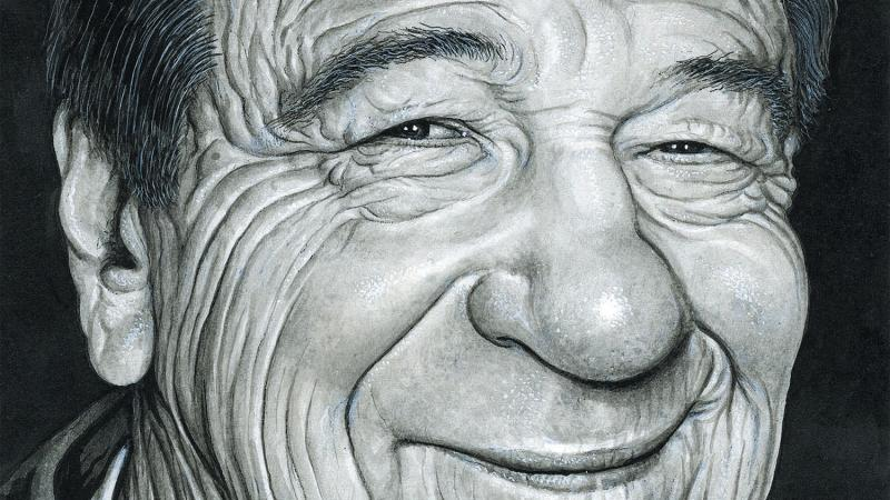Face only photograph of Walter Matthau, smiling