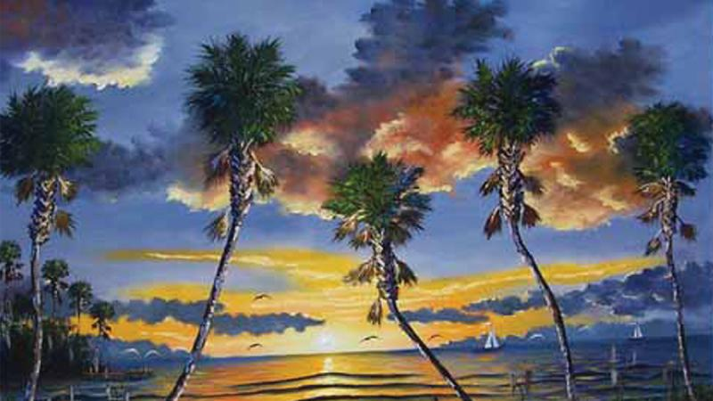 Palm trees against a darkening sky, sunset over a lagoon