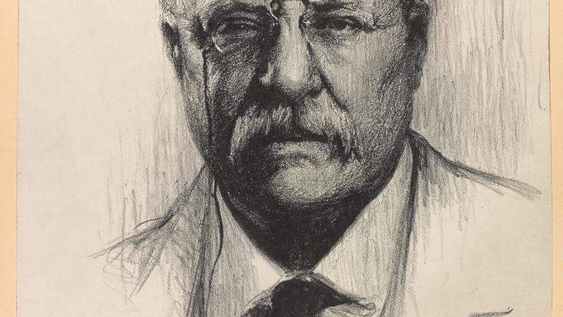 Teddy Roosevelt from the chest up, drawn using charcoal, wearing eyeglasses