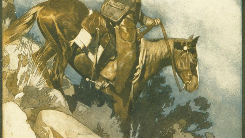 Teddy riding a brown horse down a steep mountain slope