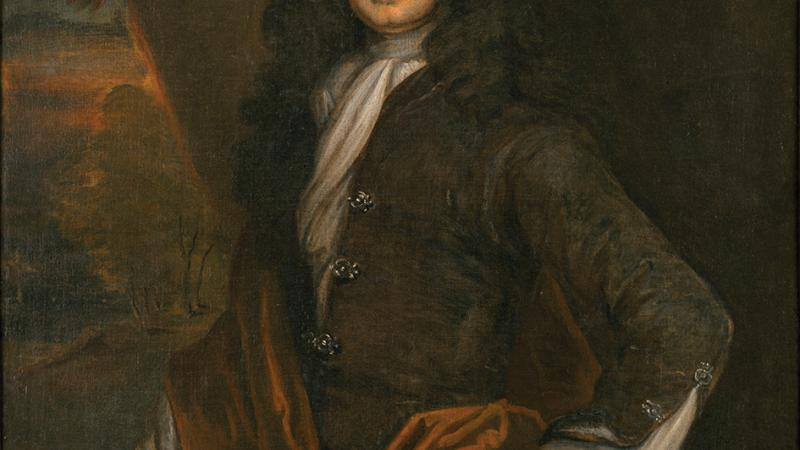 Painting of William Byrd II in a stately pose wearing a curly, black-haired British wig.