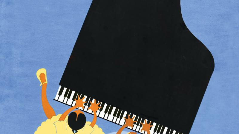 Color illustration in the jazz art style showing two girls playing the piano from an overhead view.