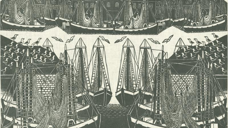 Rendering of Gloucester Harbor, with many high-masted ships and sea gulls