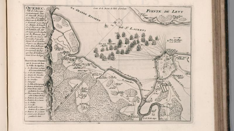 Engraved map, showing Battle of Quebec. Shows towns, villages, roads, forests, rivers, canals, bridges, name of places and residence. Includes decorative illustrations of British ships on Saint-Laurens River and key to important sites.