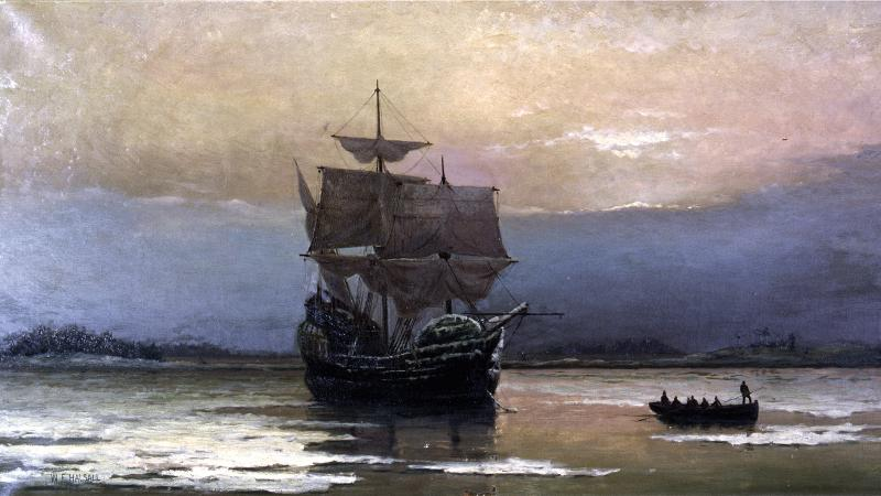 Painting with contrasting colors between sky and sea, showing the Mayflower arriving in Plymouth Harbor.