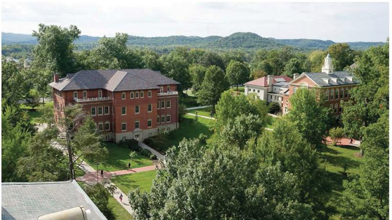 Aerial view of a red brick Berea College building
