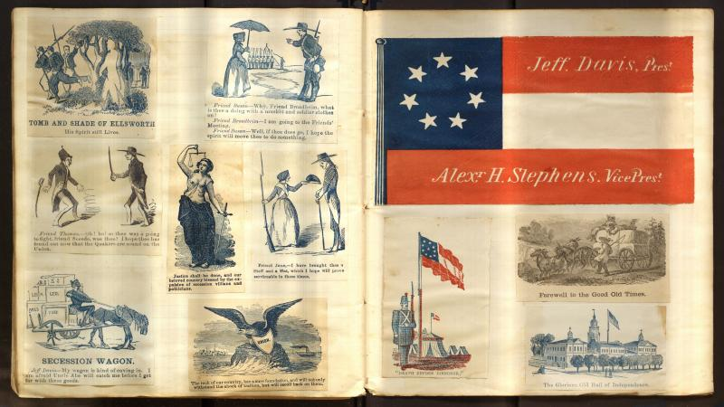 "two pages of scrapbooks, one showing the confederate flag and images of the south, and the other headed with ""Union"" and images of the flag and eagles"