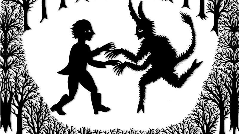 Black and white illustration of a man meeting with the devil.