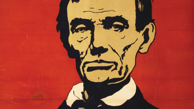 Illustration of Abraham Lincoln on a red background.