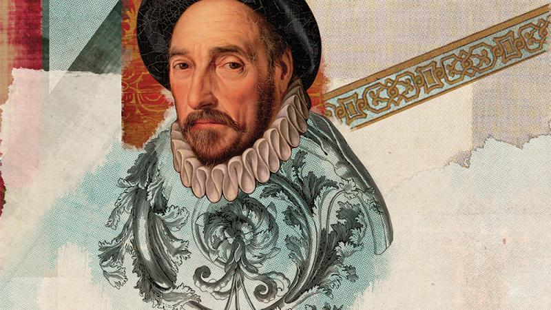 Colorful portrait of Michel de Montaigne wearing a hat.