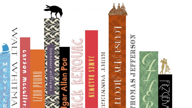 A color clipart showing a series of book bindings and their titles.