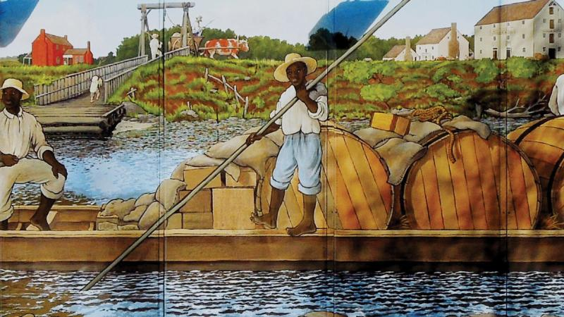 A color mural depicting two black men on a small river barge, with children waving to them in the foreground.