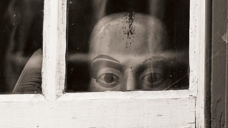 Doll peeking out of a window