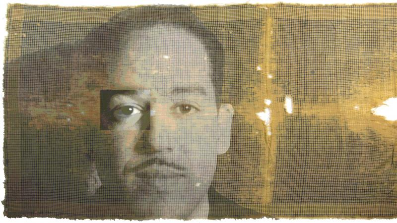 Stylized portrait of Langston Hughes