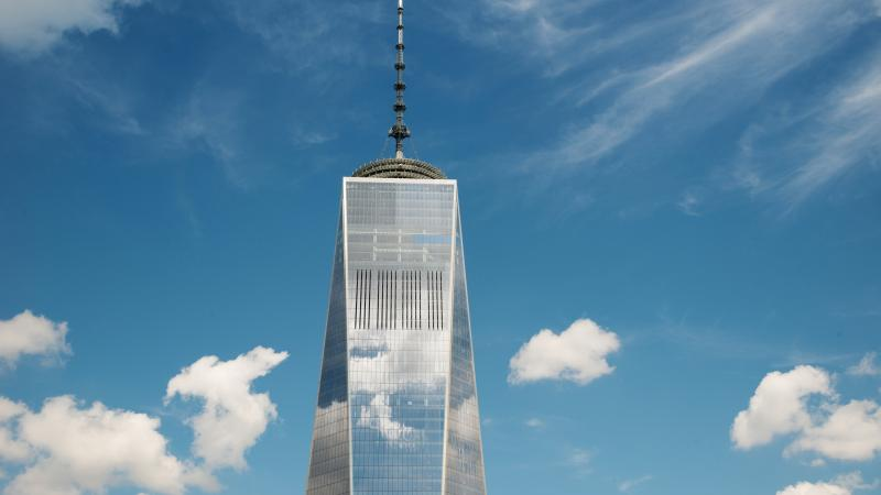 Close up photograph of the top of the new world trade center