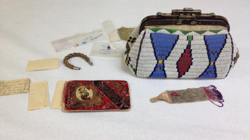From the Hazel McGaa-Cuney Collection. The beaded bag and items within belonged to her mother.