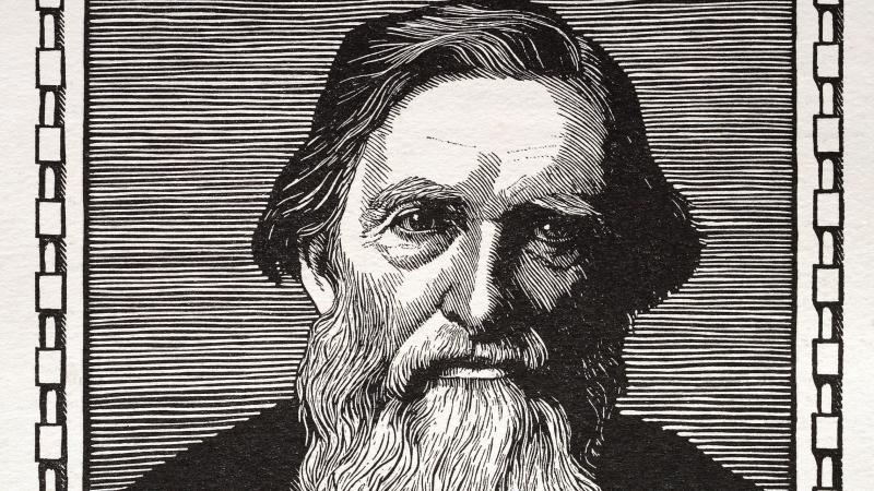Woodcut portrait of John Ruskin
