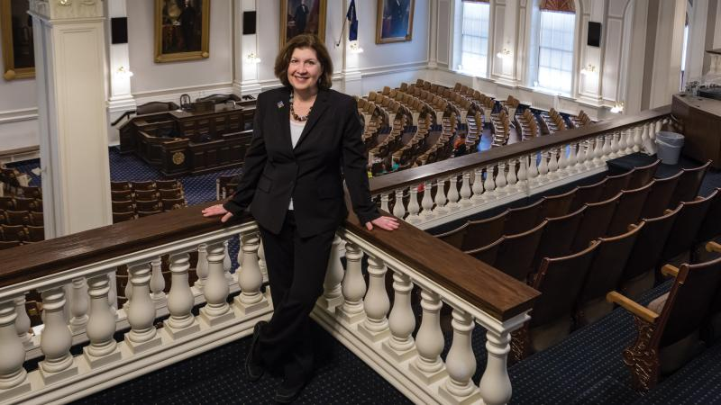 Color photo of Deborah Watrous standing in the gallery of the New Hampshire State House. The seats of representatives can be seen below her.
