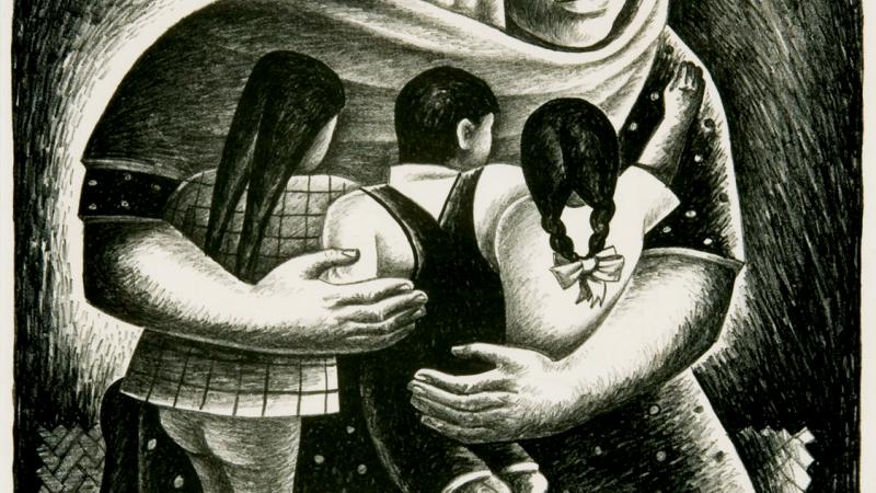 Black and white painting of a Mexican mother embracing her children.