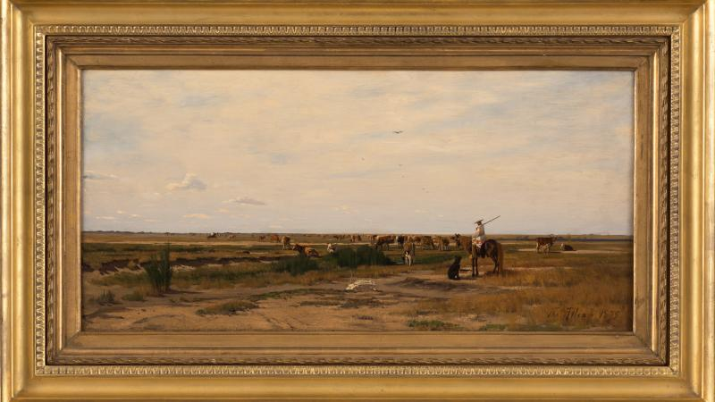Framed painting of Mexican herdsmen tending to their cattle in an open, flat plain.