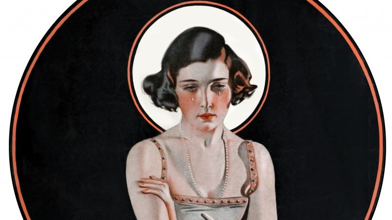 illustration of a girl holding out a mirror and crying