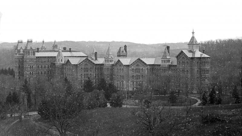 black and white slide image of a large building