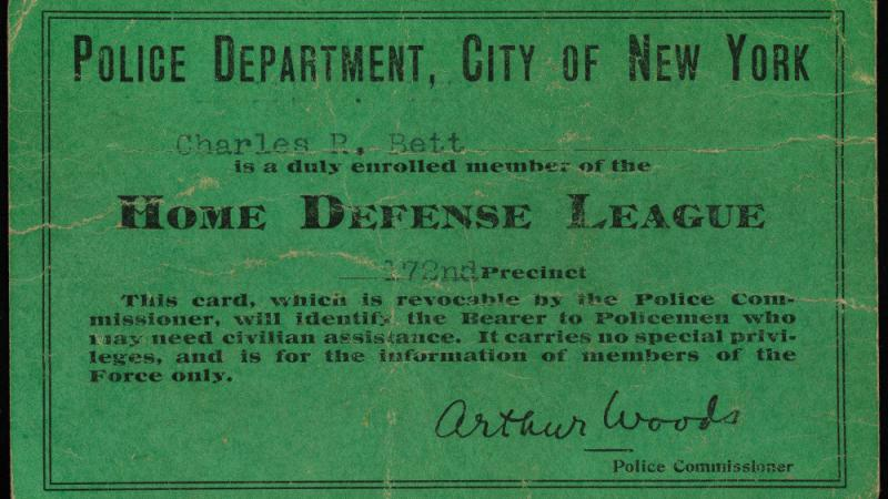 Membership card of the Home Defense League, 1917, in the Collection on World War I and World War II.