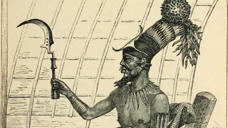 Illustration of African man holding up a tool