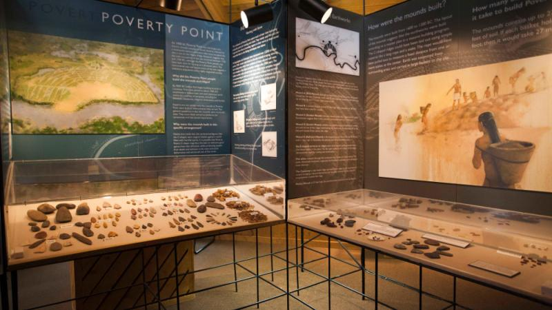 Museum exhibits at Poverty Point