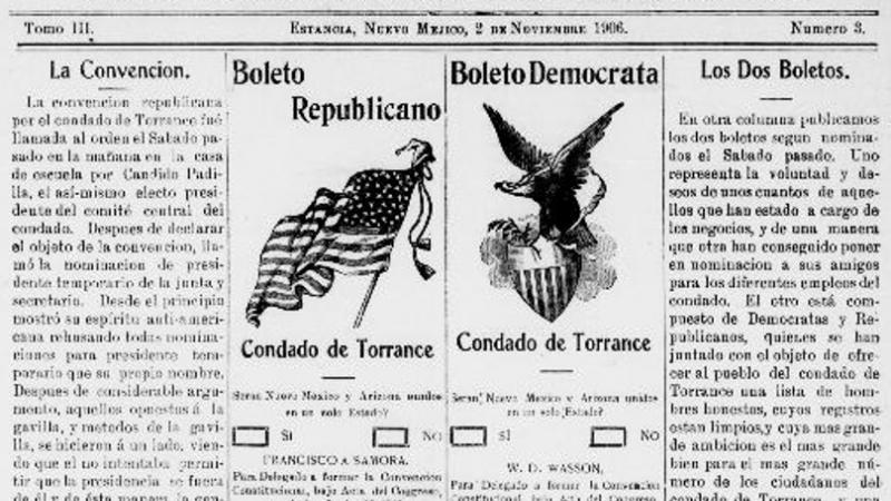 Sample Republican and Democrat Ballots for the 1906 elections, including a ballot question on whether or not New Mexico and Arizona should be combined into one state.