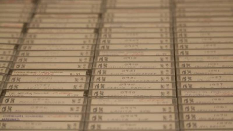 photograph of cassette tapes