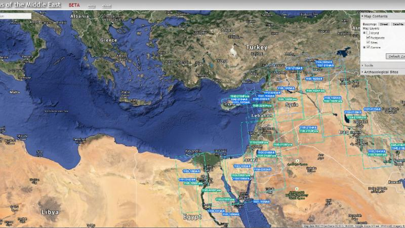 Screenshot of the Mediterranean and surrounding lands, from the CORONA Atlas of the Middle East Web site.