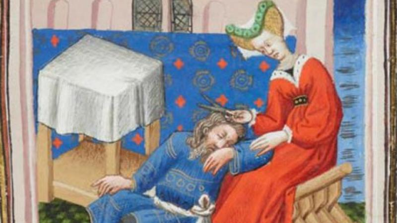 Color illustration: Lady in red cuts a lock of Samson's hair while he sleeps