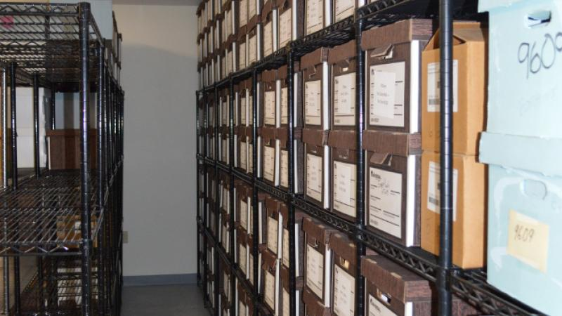 photograph of a wall of file boxes