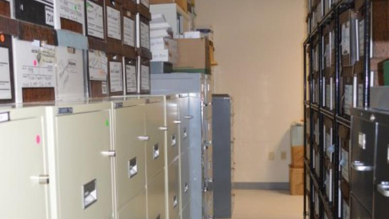 photograph of filing cabinets and boxes