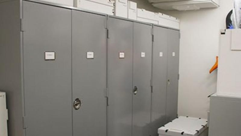 photograph of large grey storage cabinets