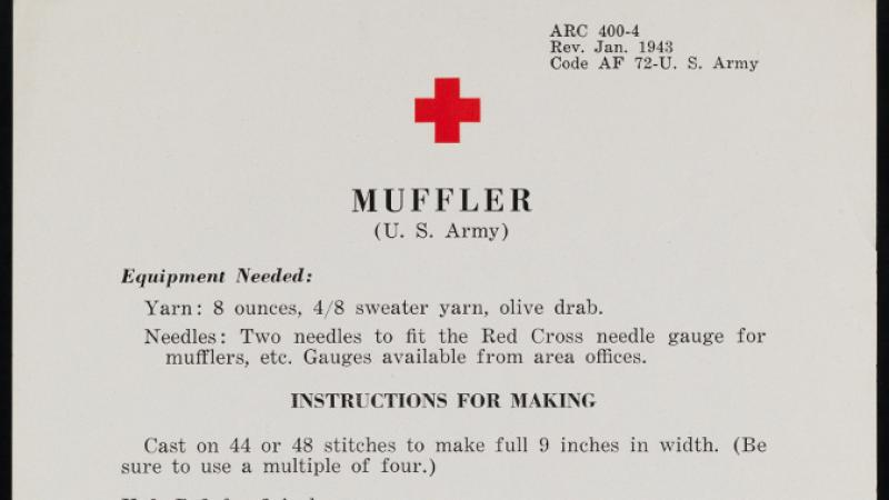 American National Red Cross instructions for knitting a muffler, ca. 1943, in the Collection on World War I and World War II.