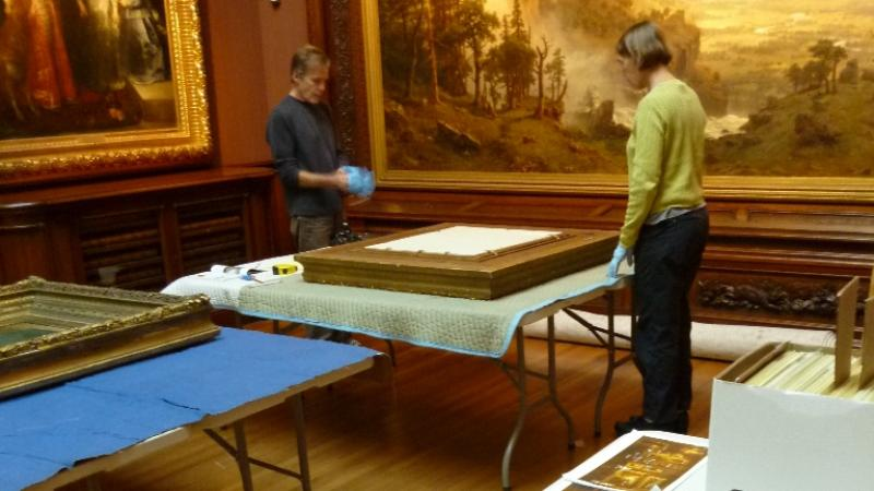 Conservators Hugh Glover and M J Davis