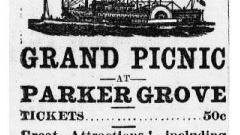 Announcement for Grand Fourth of July Picnic at Parker Grove.
