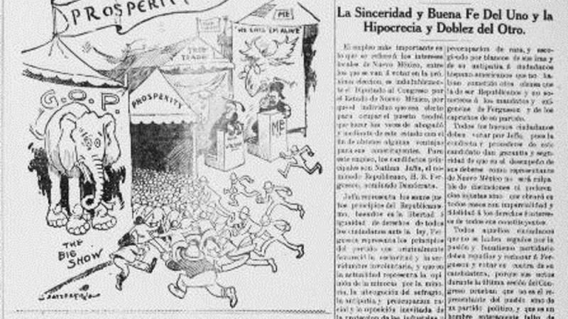 Op Ed and Political Cartoon Supporting the Republican Candidate for Governor of New Mexico in the 1912 Elections, Nathan Jaffa.