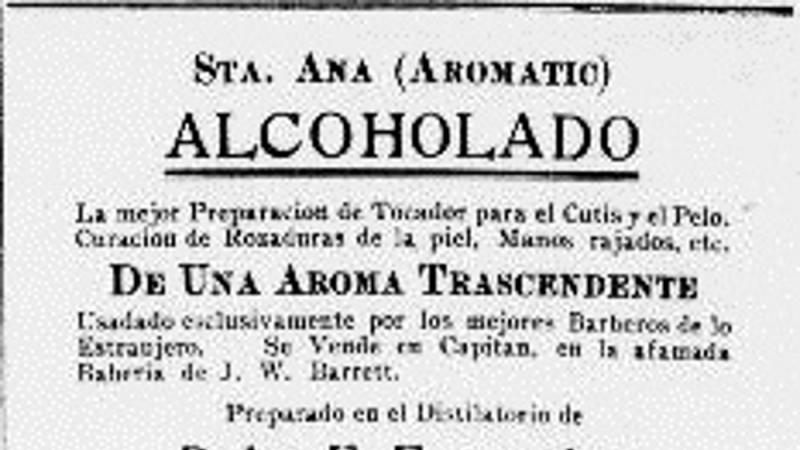"Ad for a skin and hair tonic made in Puerto Rico, with a ""transcendent aroma."""